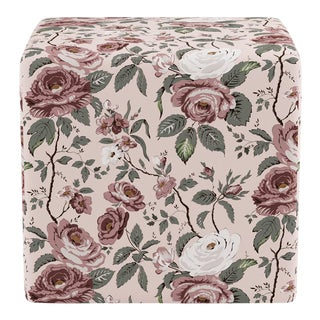 Cube Ottoman in Blush Chintz For Sale