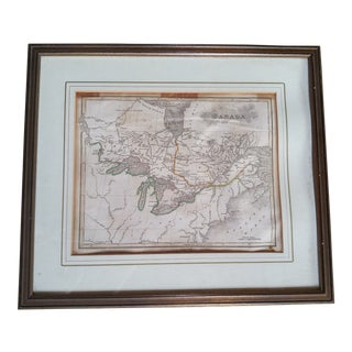 "1818 Antique John Bradley's ""Elements of Geography"" Map of Canada For Sale"