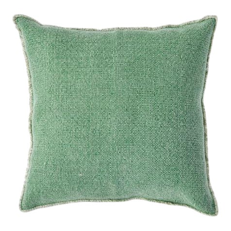 Kenneth Ludwig Chicago Woven Fringe Green Euro Pillow For Sale