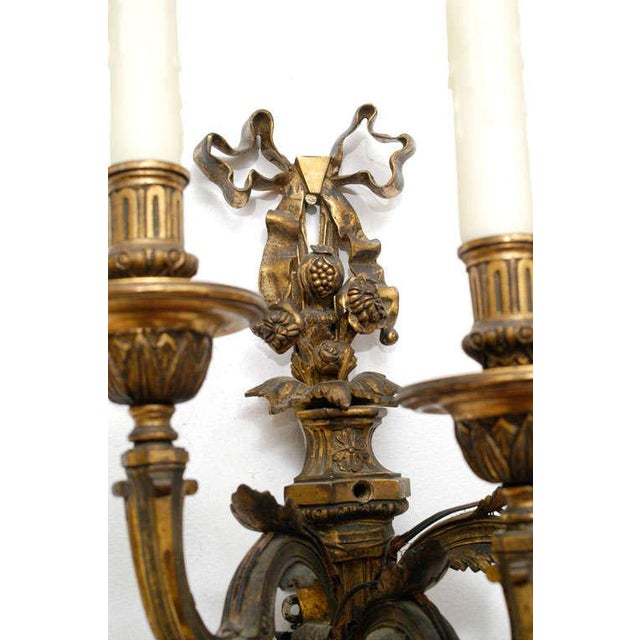 French Neoclassic Style Hand-Cast Bronze Three-Light Sconces, America - a Pair For Sale - Image 3 of 9