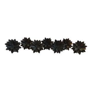 Brass Lotus Flower Drapery Tie Backs or Rod Holders - Set of 7 For Sale