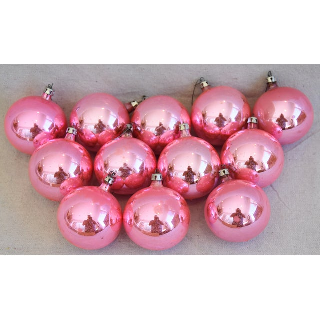 Cardboard Pink Vintage Colorful Christmas Ornaments W/Box - Set of 12 For Sale - Image 7 of 8