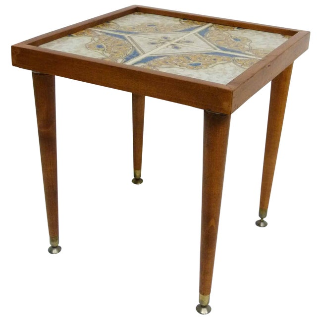 Monterey-Style Spanish Tile Side Table - Image 1 of 6