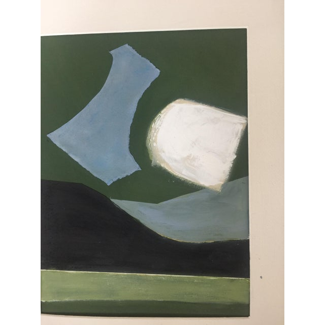 Abstract painting collage by Kimberly Moore. Blues, greens, black, and parchment. Pastels, acrylic paint, wax, and paper...