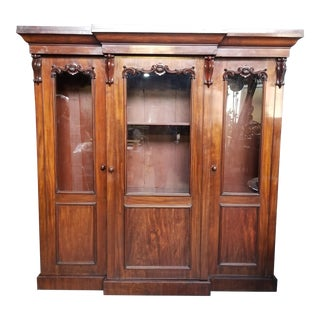 19th Century English Carved Mahogany Amoire For Sale