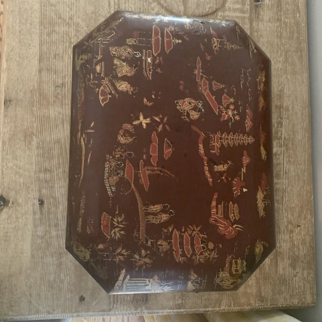 Antique Chinese Iron Red Lacquered Sewing Box on Feet With Drawer For Sale In New York - Image 6 of 12