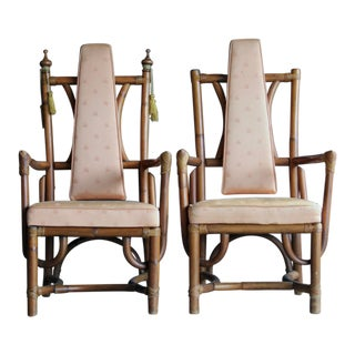 Sculptural Rattan Armchairs, a Pair For Sale