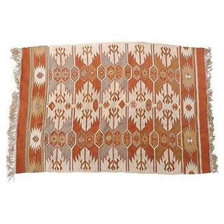 Turkish Silk Kilim Rug - 4′10″ × 3′4″