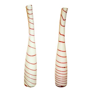 Art Glass Murano Glass Striped Peppermint White & Red Vases - 2