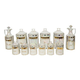Antique German Porcelain Apothecary Jars and Spice Set For Sale