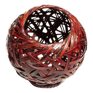 Japanese Bamboo Ikebana Globe Flower Basket For Sale