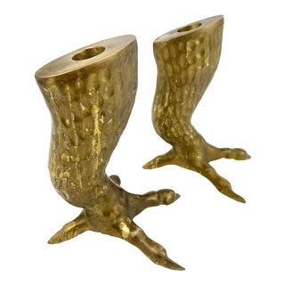 Vintage 1970s Brass Eagle Bird Talon / Claw Candlesticks / Candle Holders - a Pair For Sale