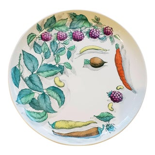 Piero Fornasetti Pottery Vegetalia Plate, #10 Morino For Sale