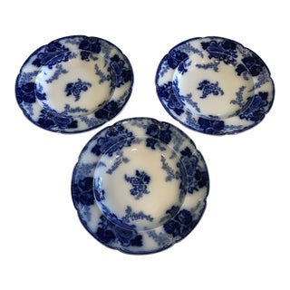 Vintage Cauldon Flow Blue Bowls - Set of 3