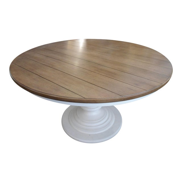 Wood Top White Pedestal Base Round Kitchen Table Chairish - Round kitchen table pedestal base