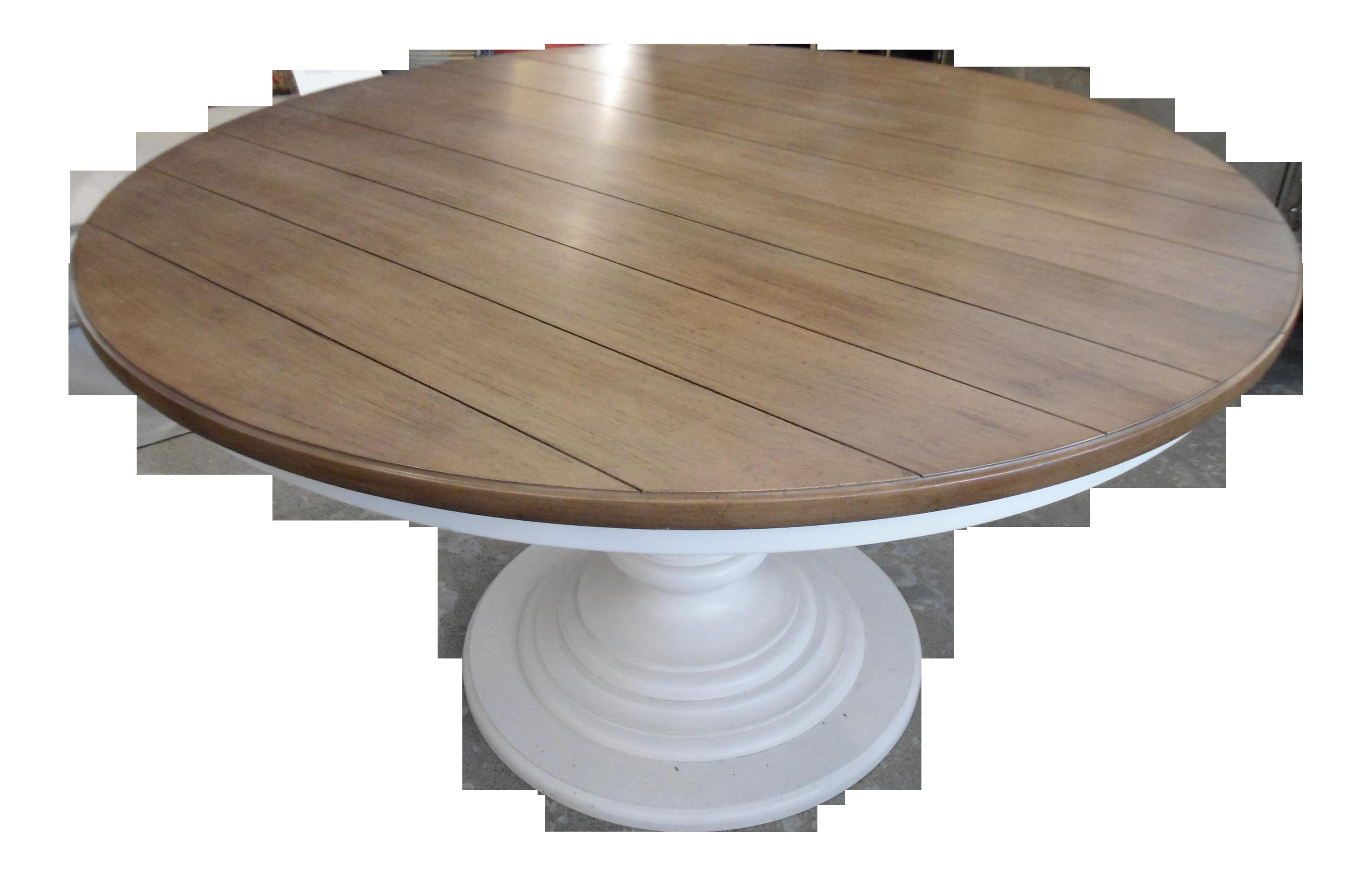 Exceptionnel Wood Top U0026 White Pedestal Base Round Kitchen Table