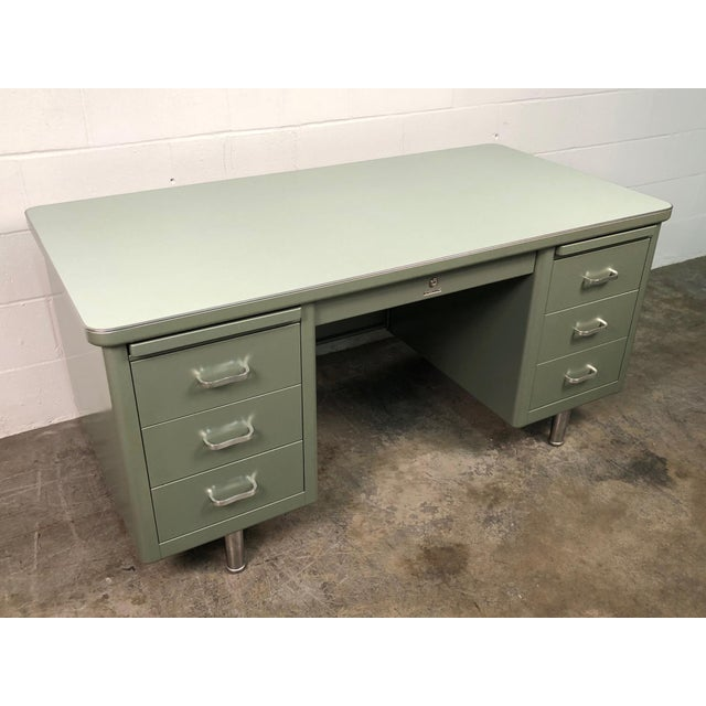 Steelcase Mid-Century Industrial Steel Tanker Desk For Sale - Image 11 of 13