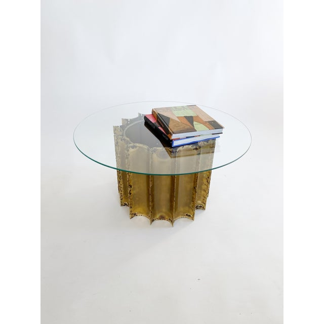 Brutalist 1970s Tom Greene Brutalist Brass Coffee Table Glass Top For Sale - Image 3 of 6