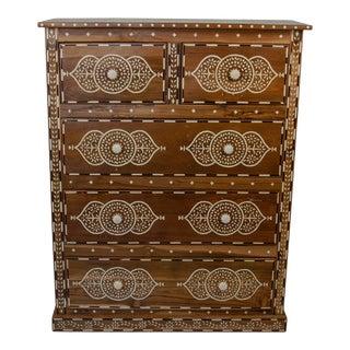 Indian Bone Inlay 5-Drawer Dresser For Sale