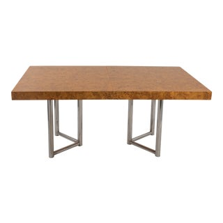 1970s Mid Century Modern Burl Chrome Dining Table After Milo Baughman For Sale