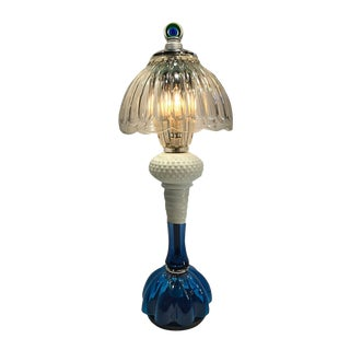 Ice Cobalt Blue and Crystal Clear Glass Handcrafted Table Lamp For Sale