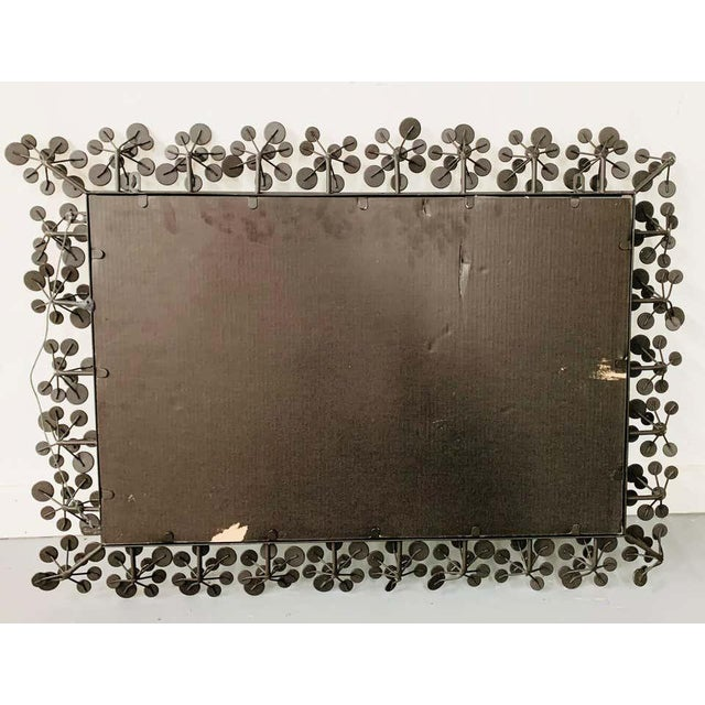 Mid-Century Modern Black and Faux Crystal Accent Beveled Wall Mirror For Sale - Image 12 of 13