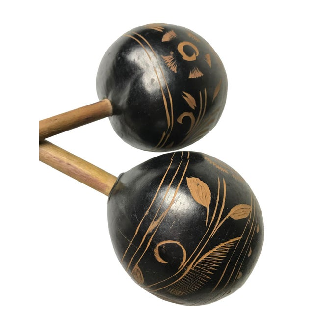 Vintage Peruvian Natural Gourd Maracas - A Pair - Image 2 of 2