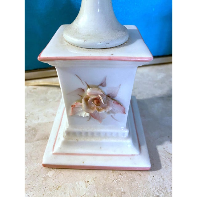 Ceramic 1940's Porcelain Pink Rose Lamps - a Pair For Sale - Image 7 of 13