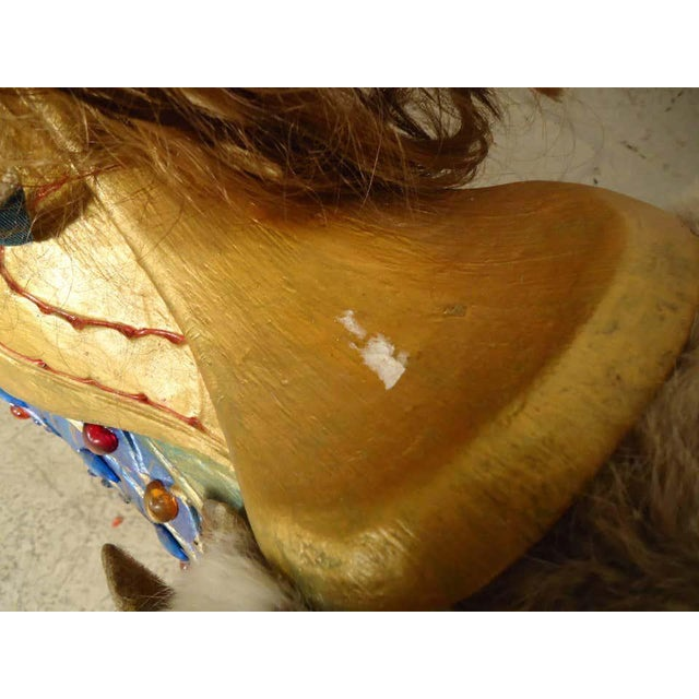 Paint Vintage Antique Hand-Painted Wooden Horse For Sale - Image 7 of 10