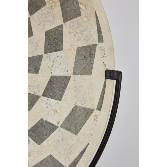 "1990s Contemporary Marquis Collection Tessellated Stone ""Illusion"" Plate on Iron Stand For Sale - Image 11 of 12"