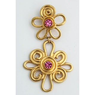 Double Daisy Gold Tone Earrings Preview