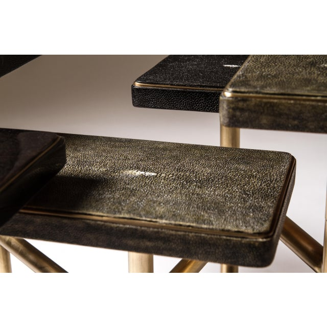 Rotating 5-Top Coffee Table in Shagreen & Bronze-Patina Brass by Kifu Paris For Sale - Image 4 of 8