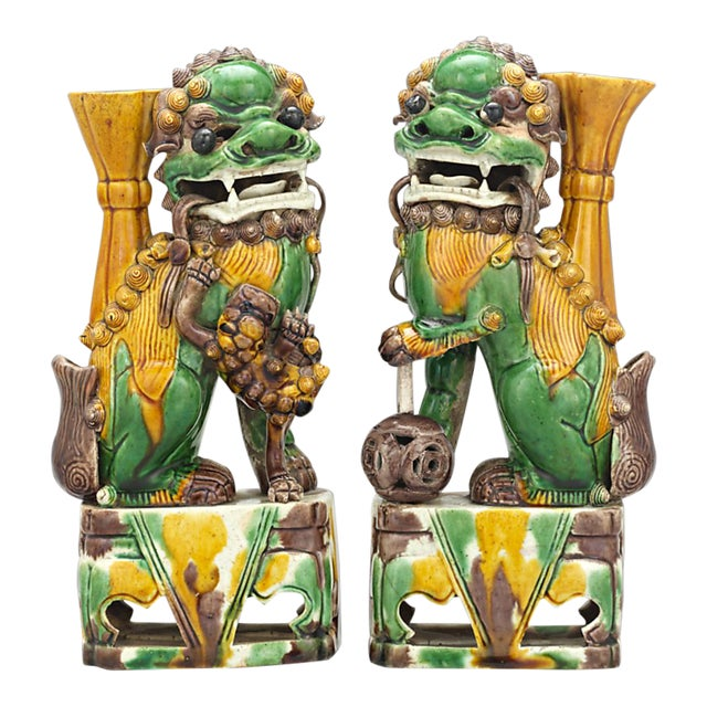 Qing Dynasty Chinese Foo Dog Totems For Sale