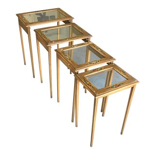 Vintage Country Hand Painted Glass Nesting Tables - Set of 4 For Sale