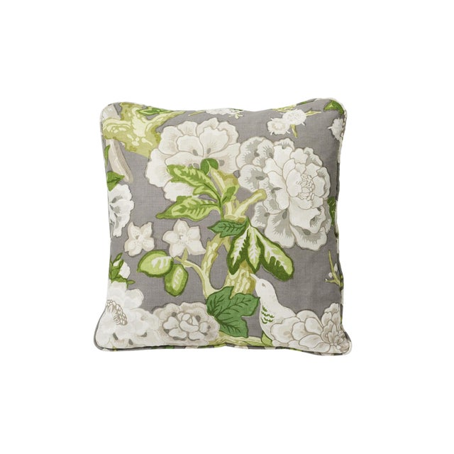 2010s Schumacher Double-Sided Pillow in Bermuda Blossoms Print For Sale - Image 5 of 5