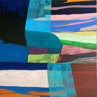 """""""Tomales Road Series: Aqua Showers"""" Contemporary Abstract Acrylic Painting by Poppy Dodge For Sale"""