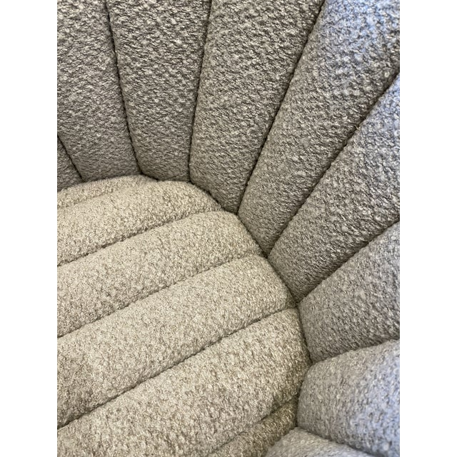 Mid-Century Modern MCM Reupholstered Boucle Channel Tufted Swivel Chair For Sale - Image 3 of 8