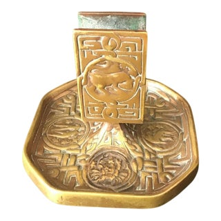 Tiffany Bronze Metal Card Holder With Zodiac Signs For Sale
