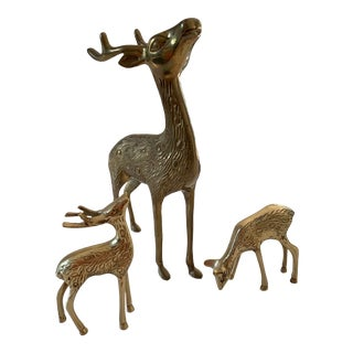 Vintage Brass Deer Trio of Mother and Fawns - 3 Pieces For Sale