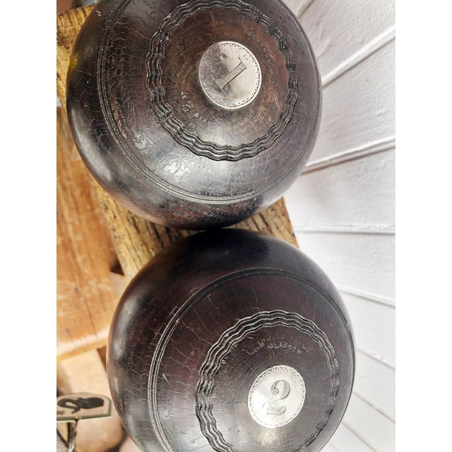 Pair of Antique 1911 Sterling & Wood Trophy Lawn Bowling Balls For Sale In New York - Image 6 of 10