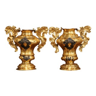 Pair of 18th Century Italian Carved Oak and Gilt Brass Altar Ornament Vessels For Sale