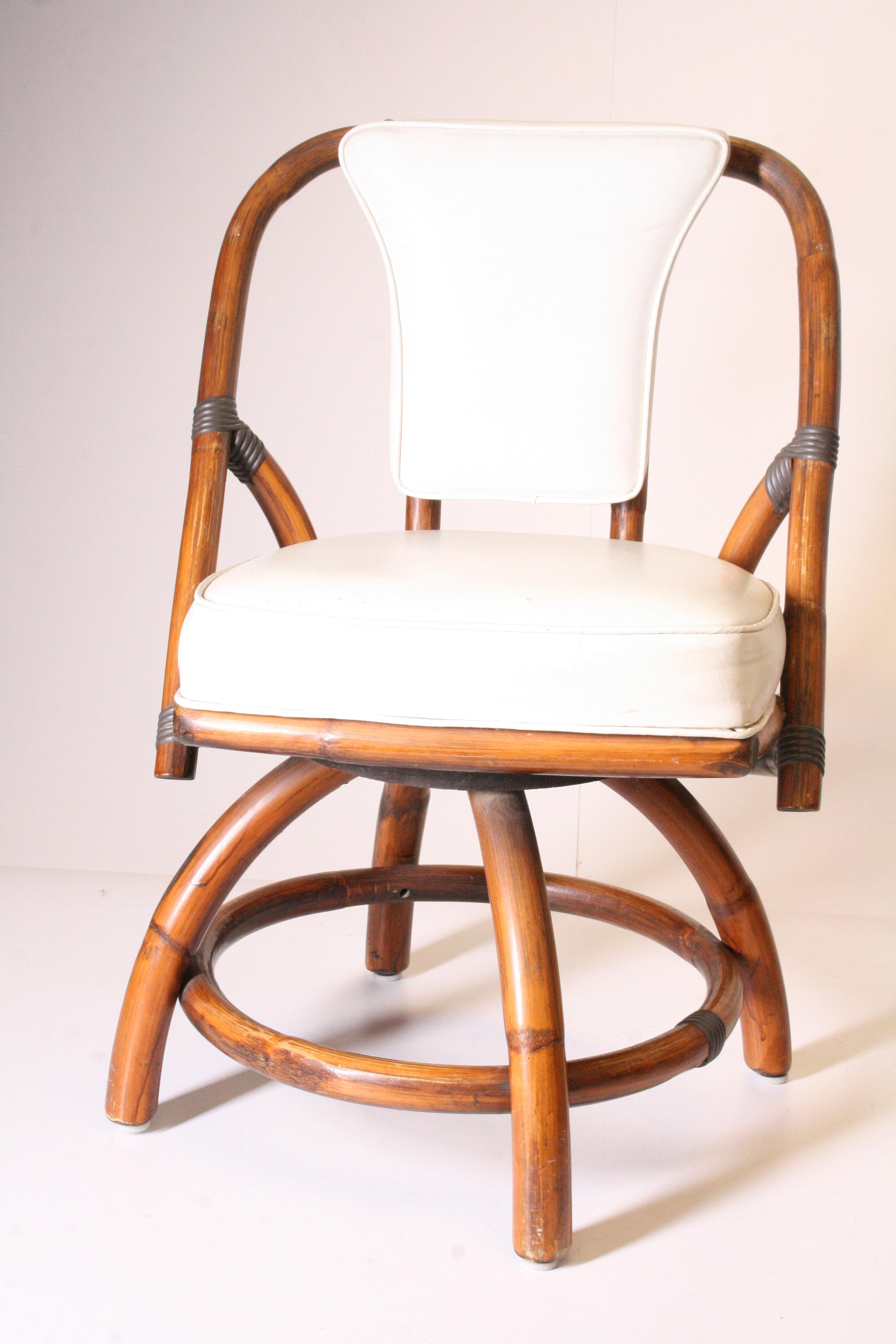 Boho Chic Bamboo U0026 Rattan Swivel Chairs   A Pair   Image 7 Of 11
