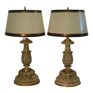 Thomas Morgan Carved Italian Table Lamps - a Pair For Sale