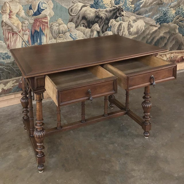 19th Century French Henri II Walnut Writing Table For Sale In Dallas - Image 6 of 13