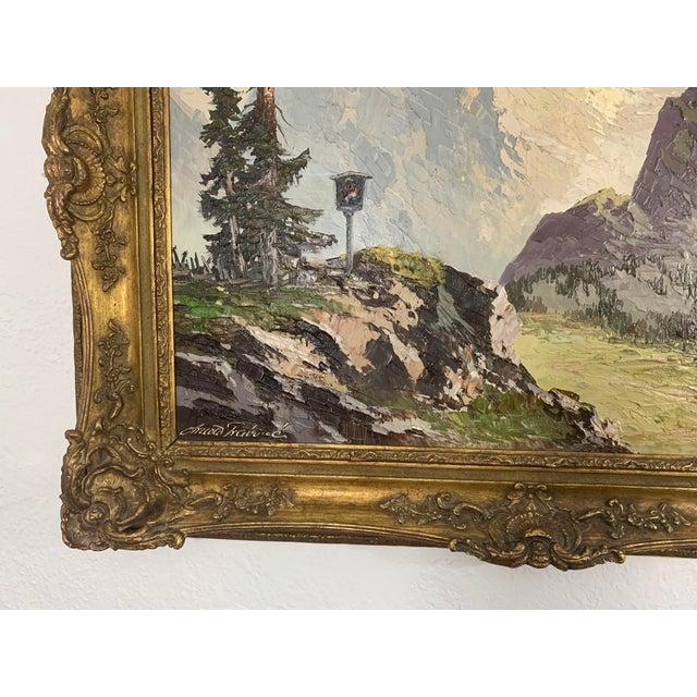1940s Large Framed Mountain Scene Oil Painting in Gilt Gold Frame For Sale - Image 5 of 13