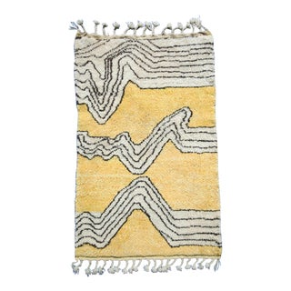 Yellow, Black, Brown and White Moroccan Wool Area Rug For Sale