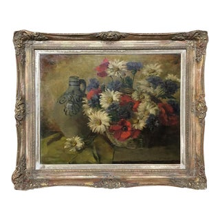 Antique Framed Oil Painting on Canvas by I. Leyssens Ca. 1954 For Sale