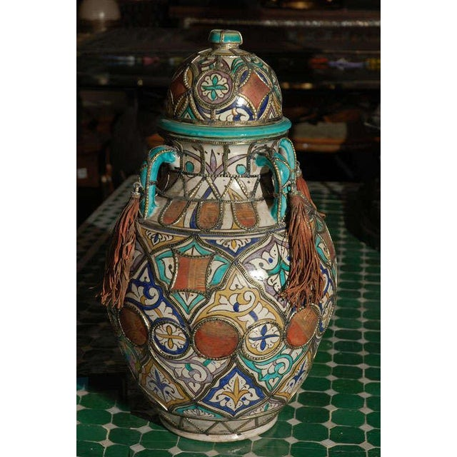 Animal Skin Antique Moroccan Ceramic Jar With Lid For Sale - Image 7 of 7