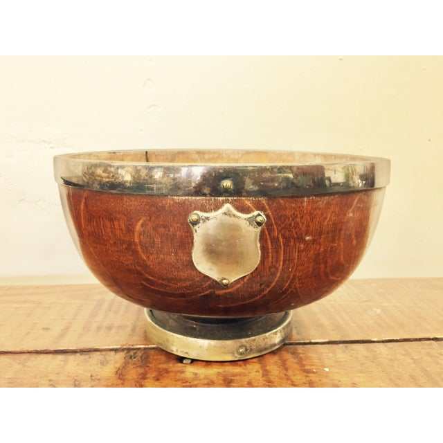 Antique English Oak Mont. Bowl - Image 3 of 8