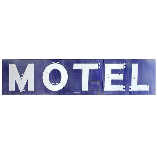 1930s 1930's Porcelain Motel Sign For Sale - Image 5 of 5